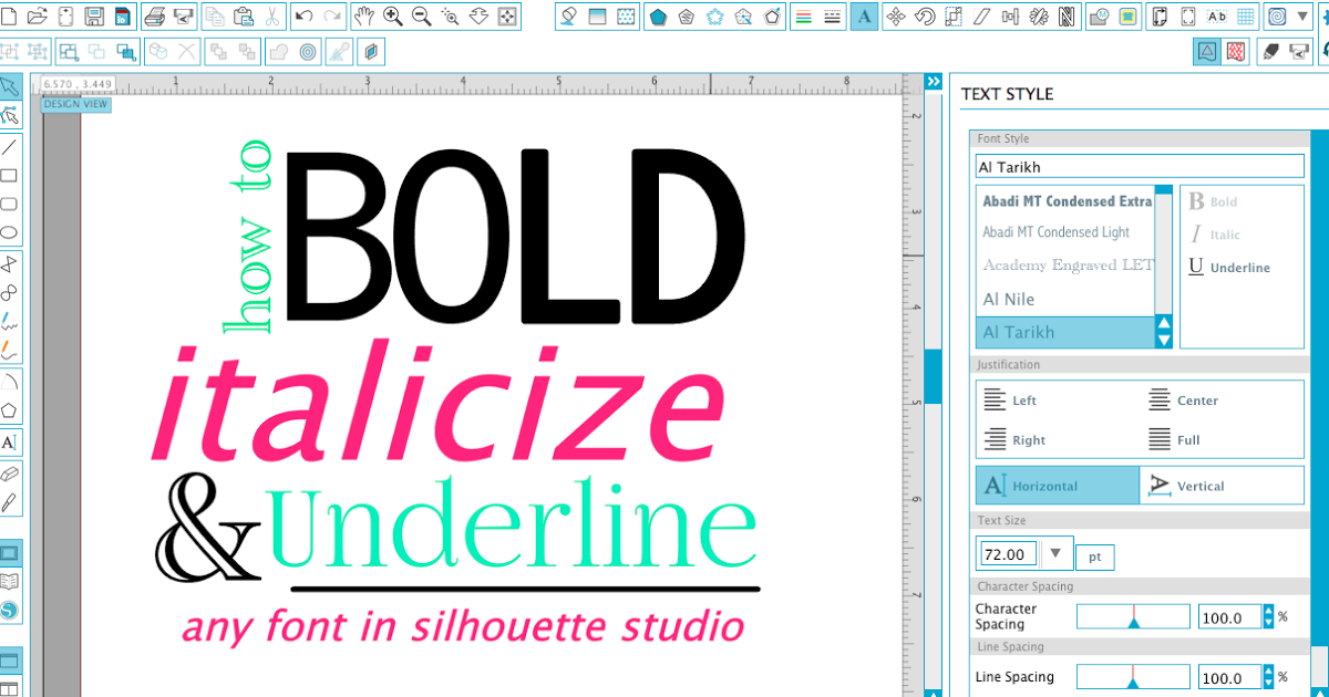Silhouette Studio Hack How to Make Text Bold, Italicized