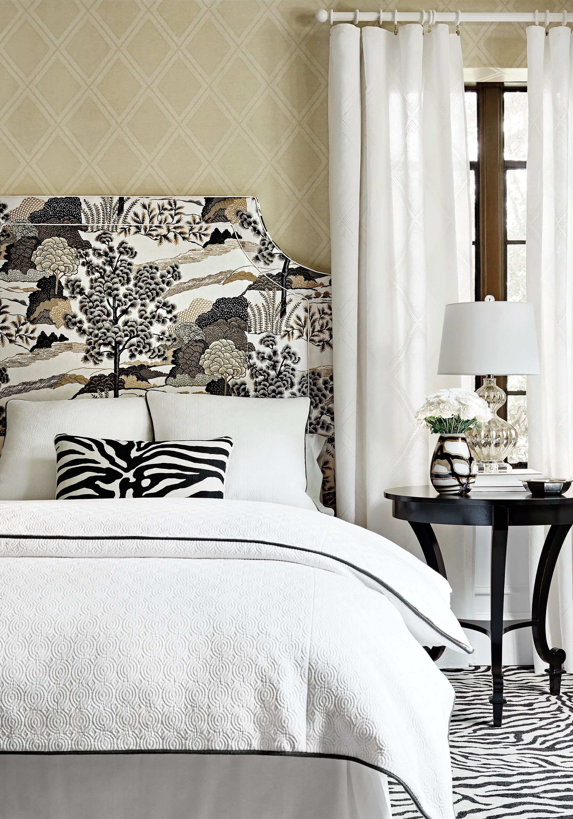 Ridgewood Headboard From Thibaut Fine Furniture In Daintree Printed Fabric