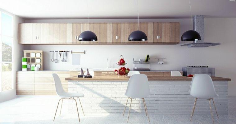 La cuisine blanche et bois dans tous ses états | Cuisine avec ilot ...