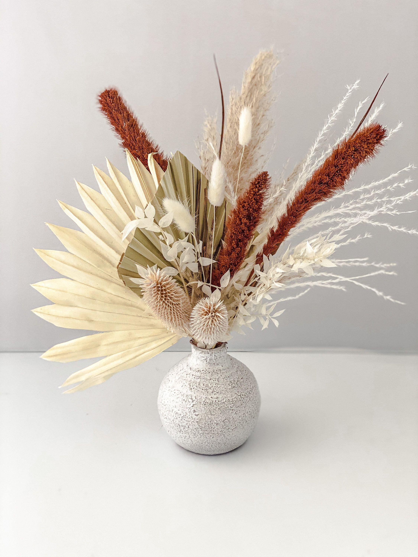 White And Rust Pampas Bud Vase Etsy In 2020 Bud Vases Arrangements Dried Flower Arrangements Bud Vases