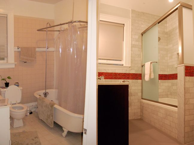 Small master bathroom makeovers master bathroom for Before and after small bathroom makeovers