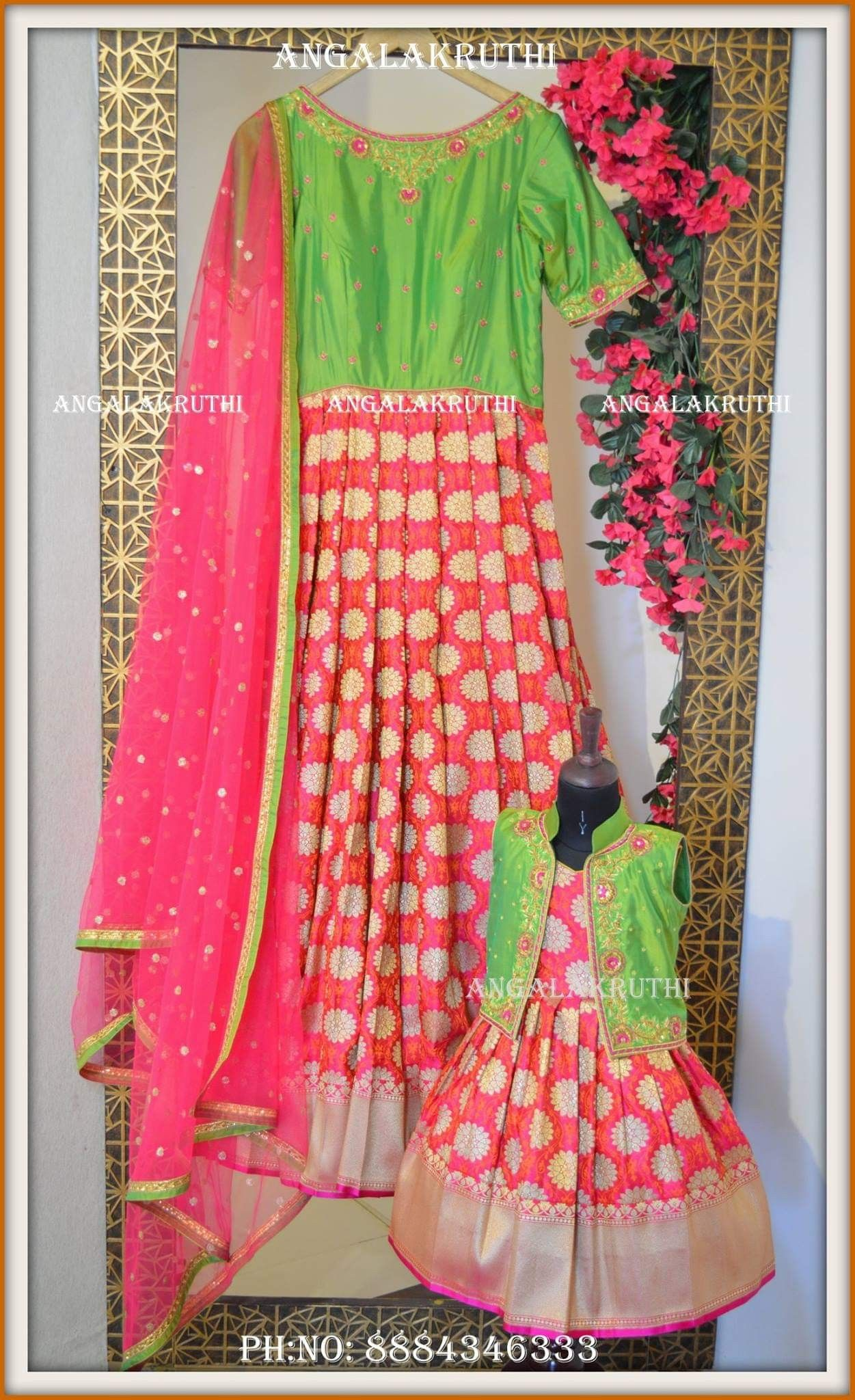 31464c946a Mother and daughter matching dress designs by Angalakruthi Bangalore India  Mom and me dress designs by family matching ethnic wear designer dresses  for ...