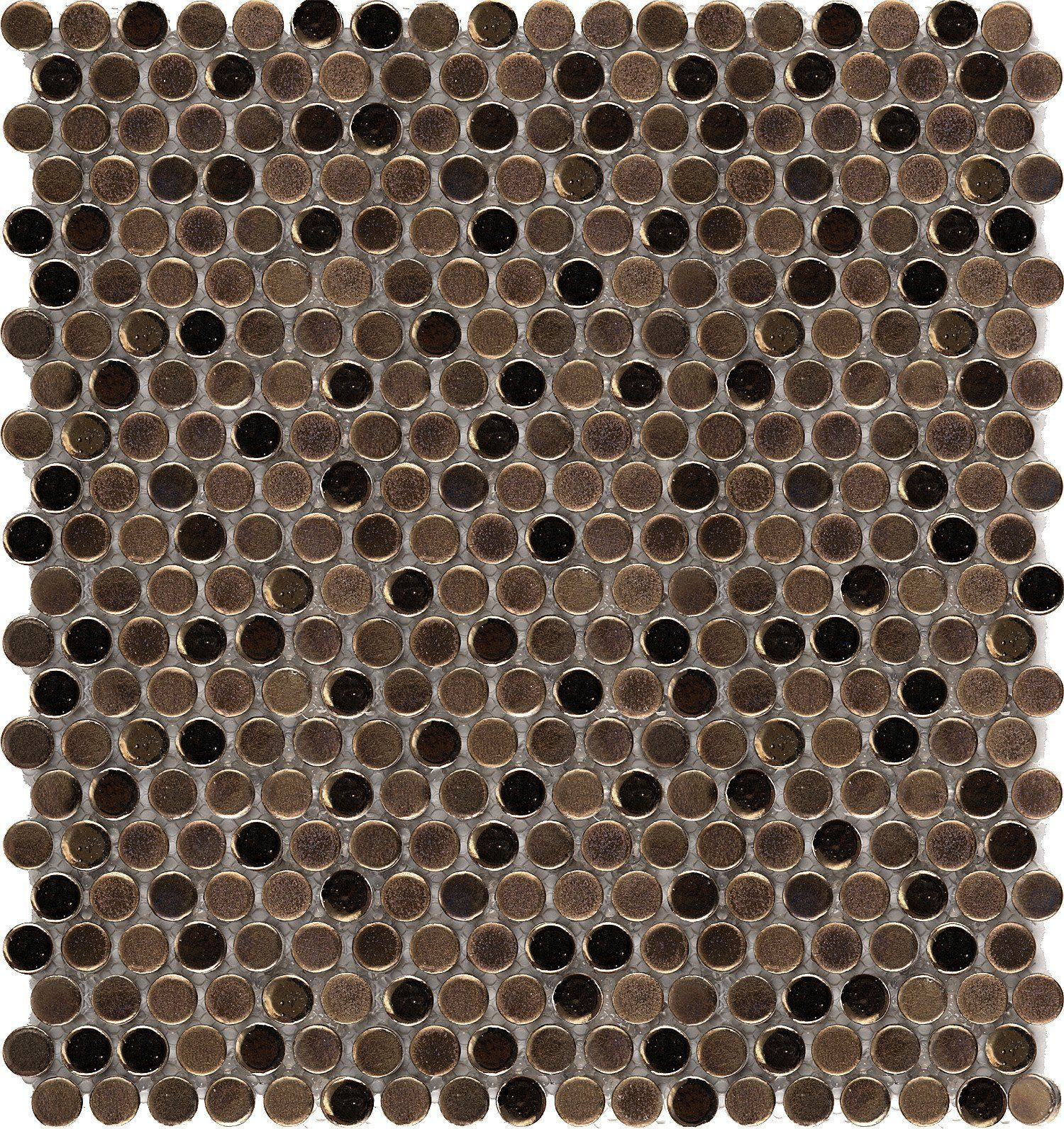 Emser Tile Confetti Penny Round 8mm Bronze Mixed Finish Mosaic On