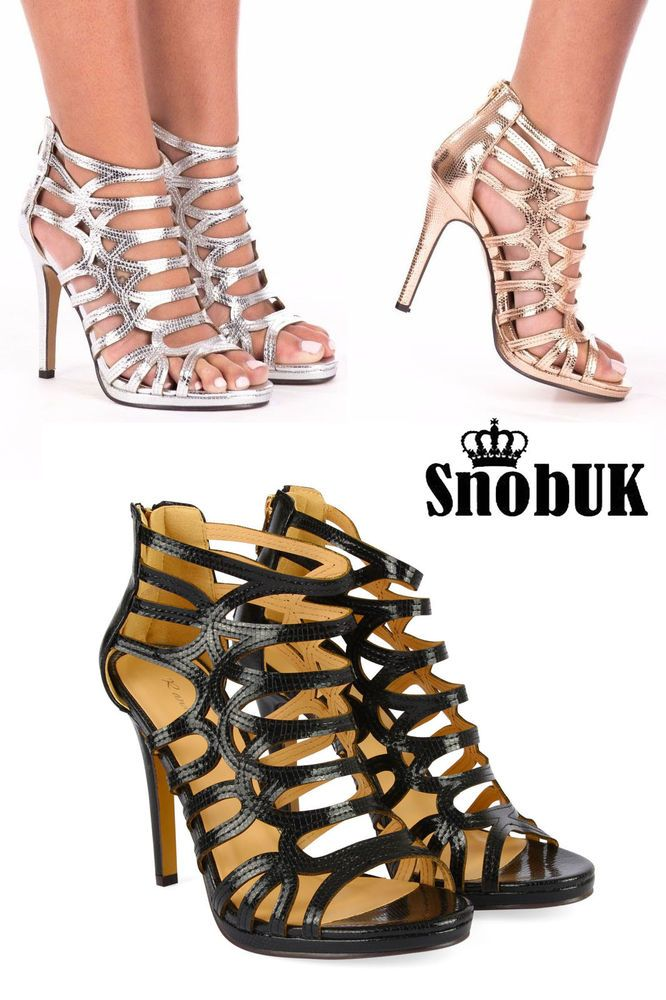 a2d8230875fc New UK Women s Ladies High Heels Zip Up Caged Gladiators Ankle ...