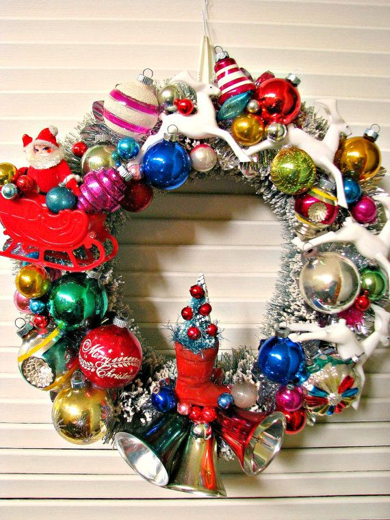 Vintage Over The Top Bottle Brush Christmas Wreath featuring Santa