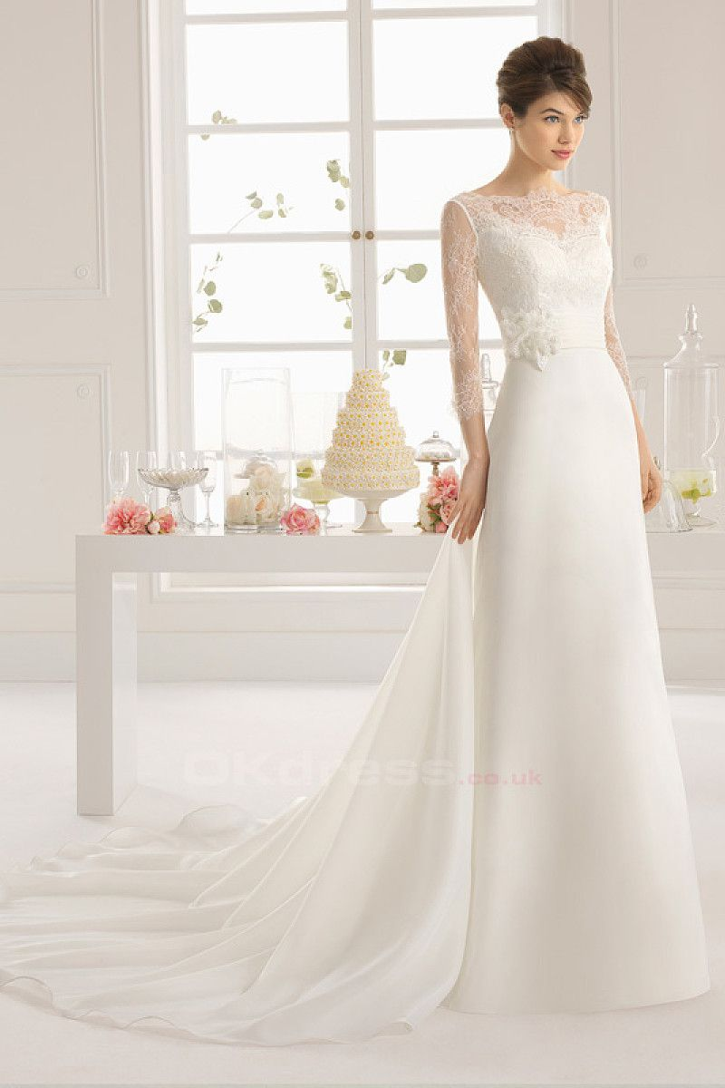 Glamorous bateau sleeve organza wedding dresses by okdress uk
