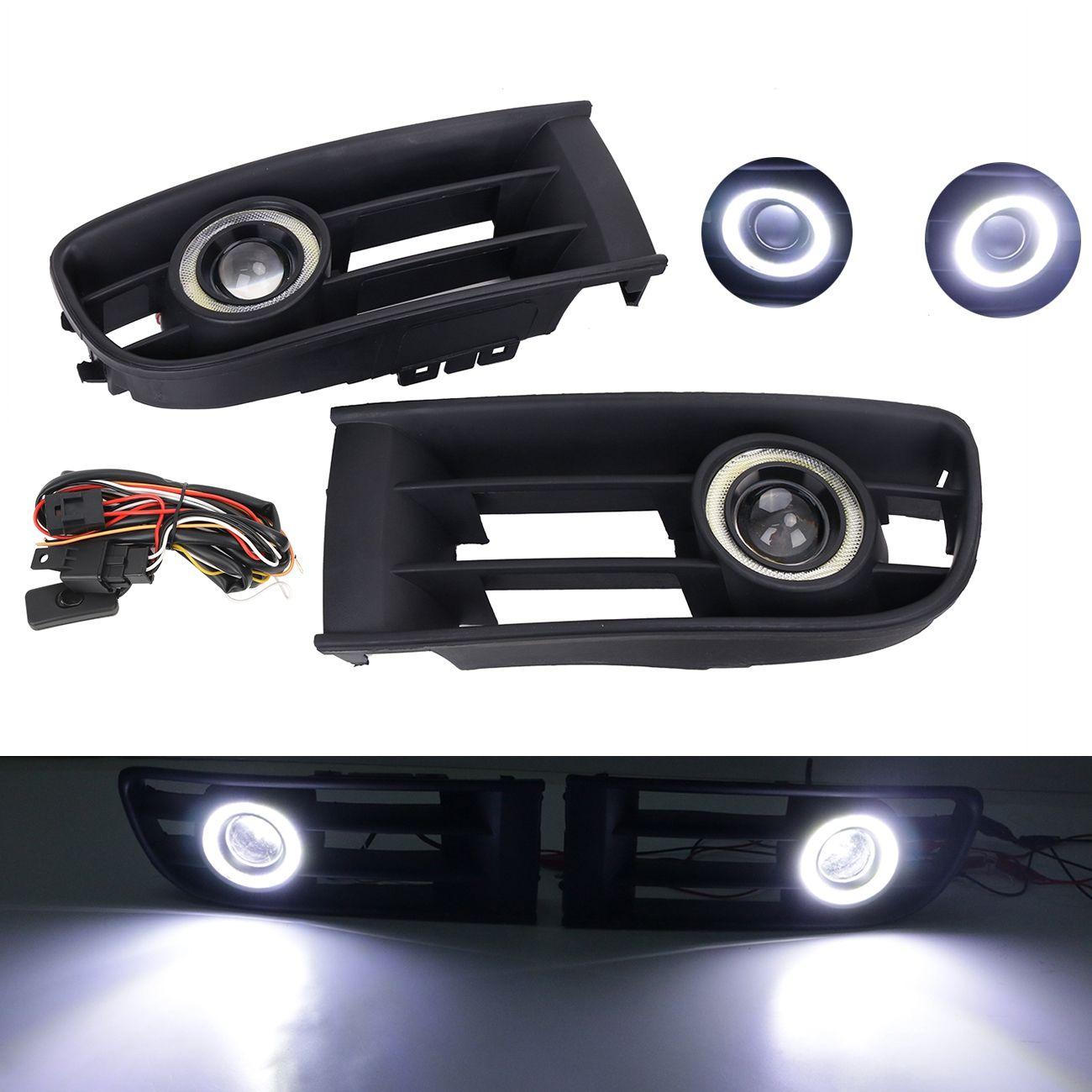 Front Bumper Fog Lamp Grille LED Convex lens Fog Light Angel Eyes ...