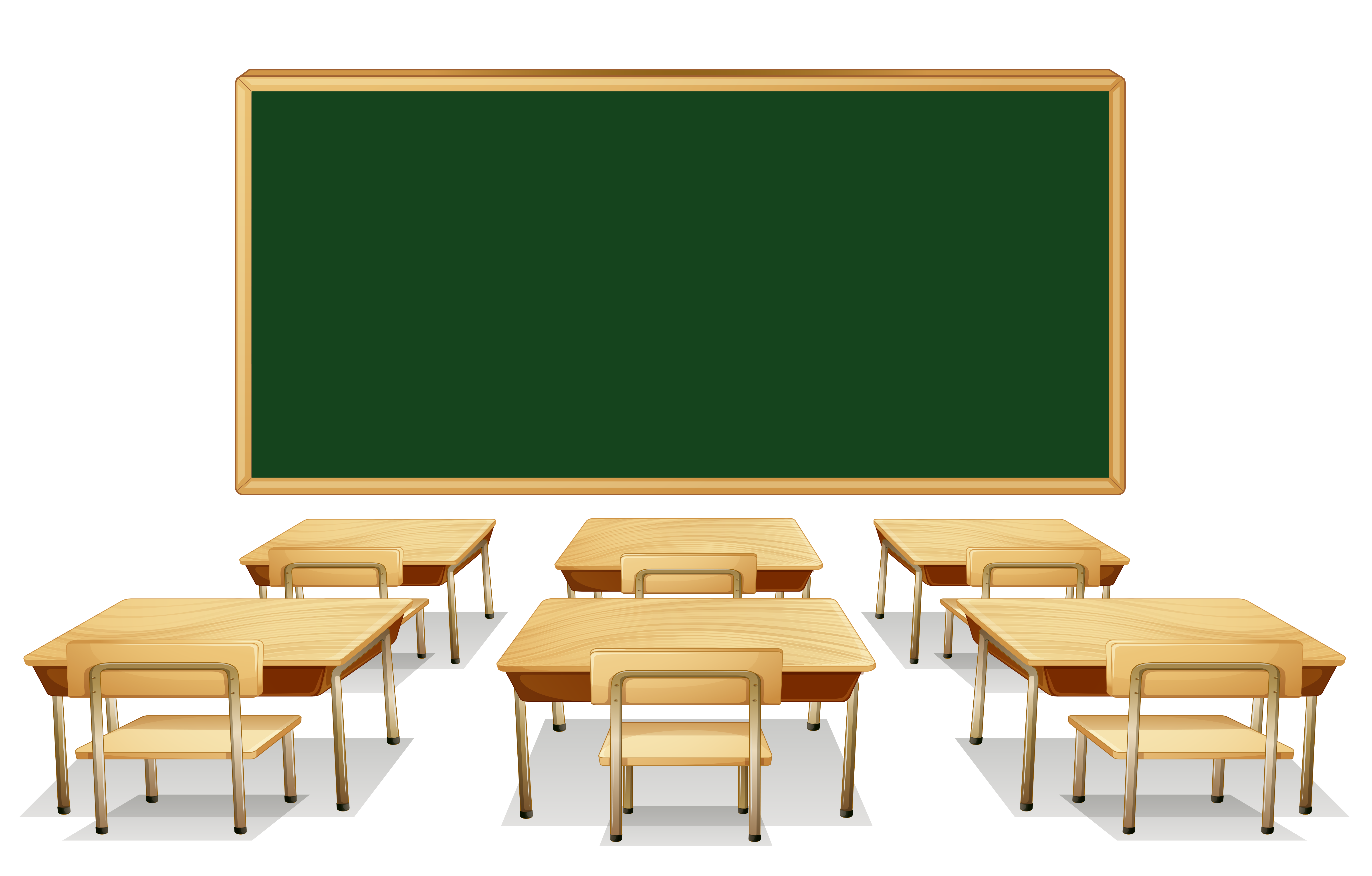 Classroom With Green Board And Desks Clipart Image