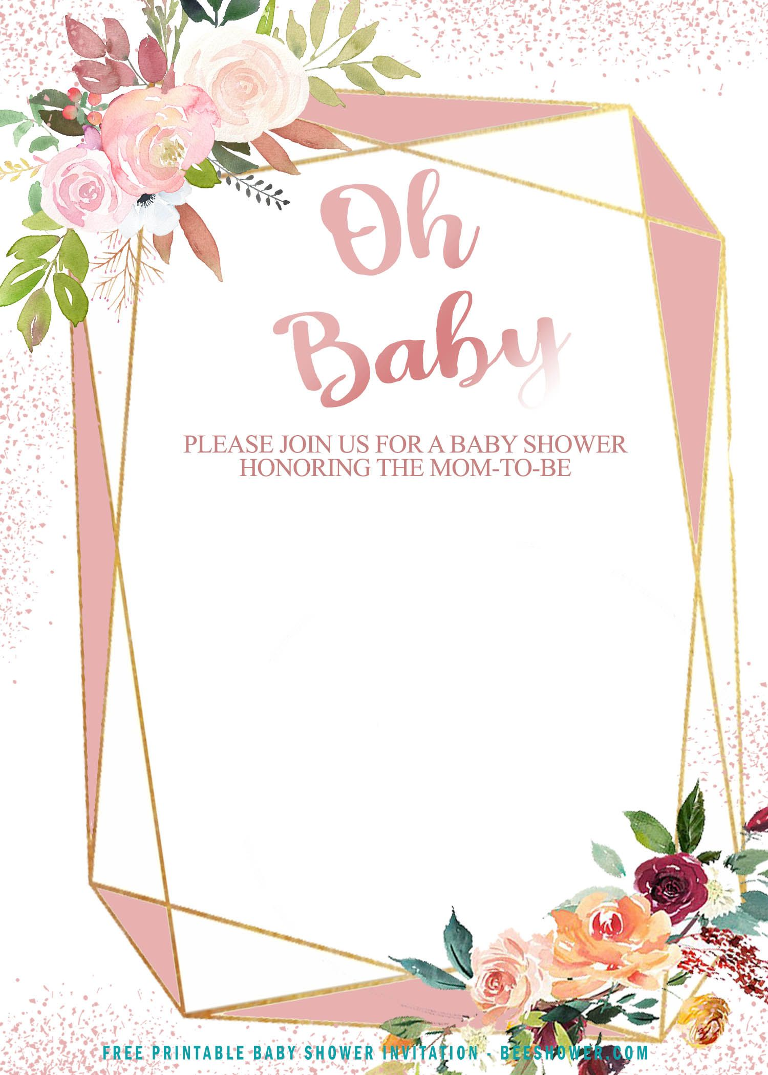 Free Printable Rose Gold Geometric Baby Shower Invitation Templates Free Printable Baby Shower Invitations Free Invitation Templates Baby Shower Templates