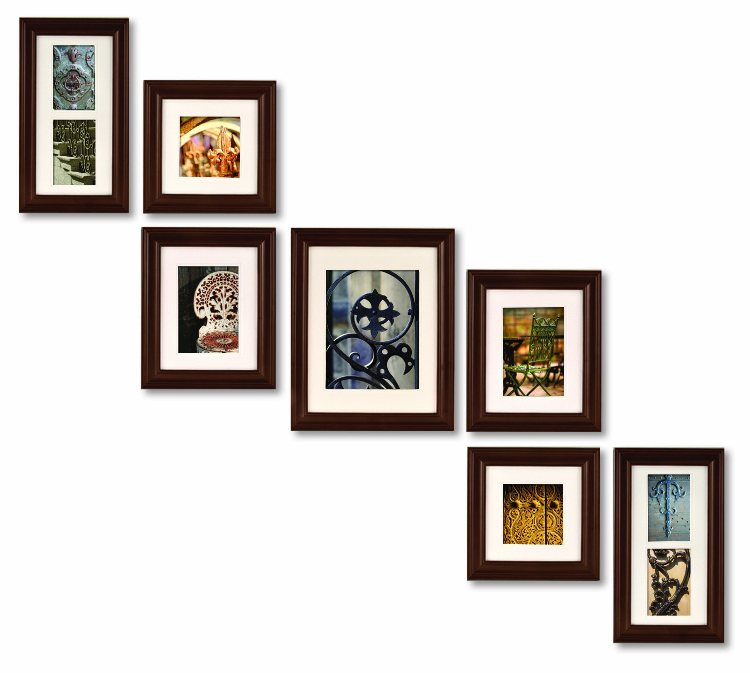 Create a gallery 7 piece wood photo frame set real wood woods 7 piece walnut real wood frame set with easy to hang wall jeuxipadfo Gallery