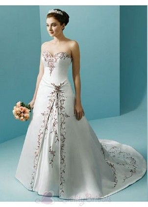 Sweetheart Color Embroidery Detail Wedding Gown A-line/Princess ...
