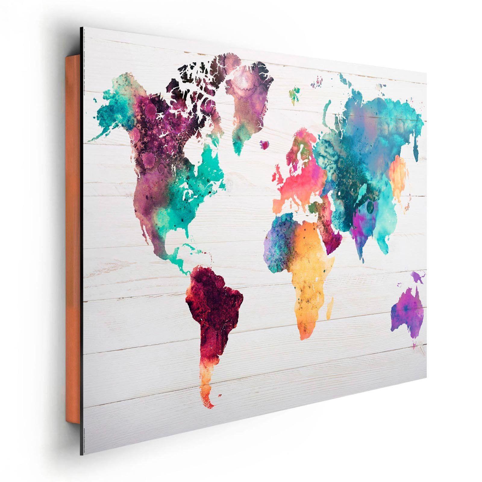 Wandbild - Die Welt in Wasserfarben - 60x90 cm
