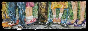 "Title: A Fun Day at the Park - Corporate Collection of Kaiser Permanente Hospital Roseville Ca - Size: 30"" x 72"" - Medium: Collage"