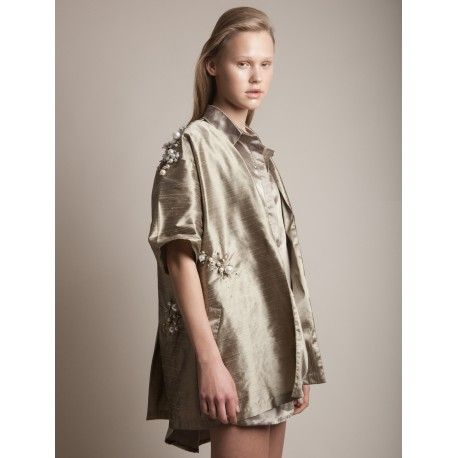 3241d1a82418 Golden oversized Kimono with short sleeves