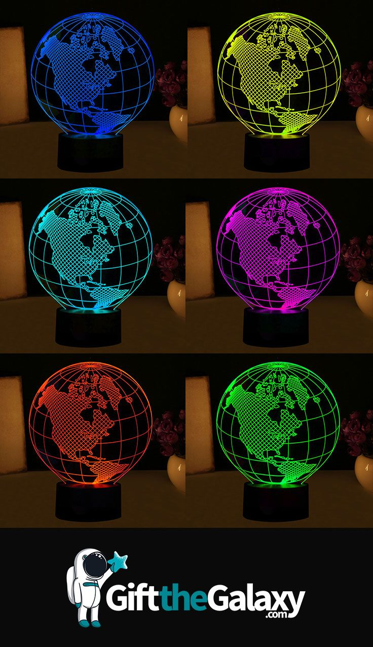 Shop GiftTheGalaxy For World Globe Hologram Light Lamps U003eu003e LED Light  Optical Illusion Lamps Visual 3D Acrylic Décor Office Toys Gadgets Tech Gifts  Space ...