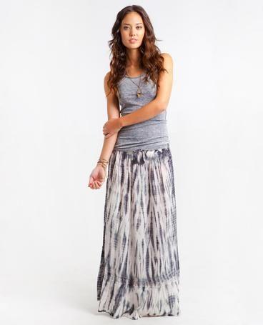 5d444ea149de SERENITY SKIRT Laid-back maxi skirt with subtle tie dye print and lace trim  inset above bottom hem.