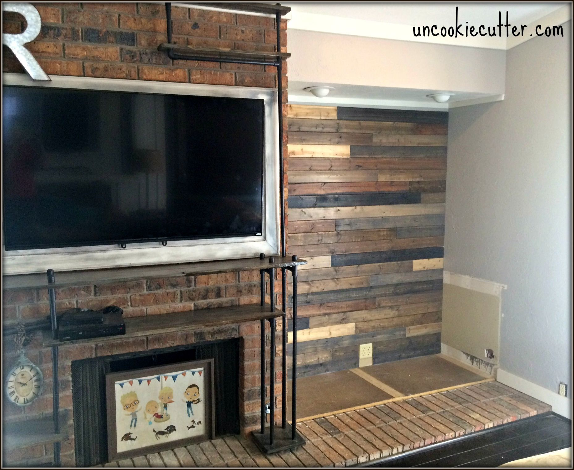 I Created This Mixed Wood Wall With Paneling From Lowes Leftover Stain And Nails For Around 40