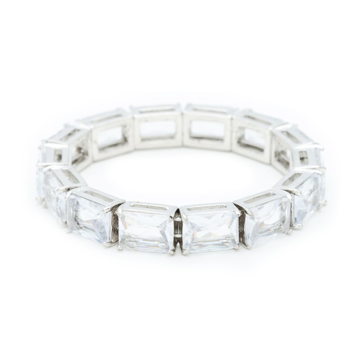 If you're looking for an easy-on bit of shine offering the utmost in versatility, Leslie is just the answer. This stretch bracelet features shimmering clear baguette cut crystals against silver. Leslie is the utmost in classically simple elegance.  $64