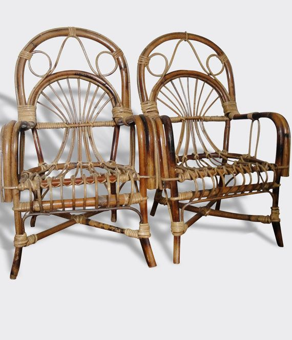 Vintage Bent Bamboo Chairs Franco Albini Style Paire Peacock Rattan Arm Chairs Set Bistro Pair Chaises En Bambou Chaise Fauteuil Chaise Vintage