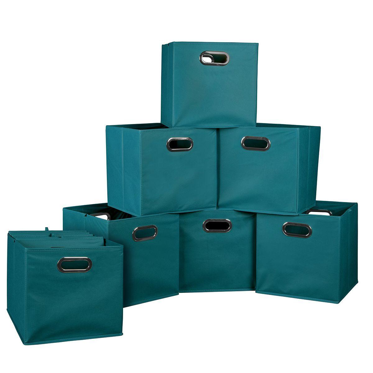 Regency Seating Niche Cubo Teal Fabric Foldable Storage Bins (Set Of 12   Teal)