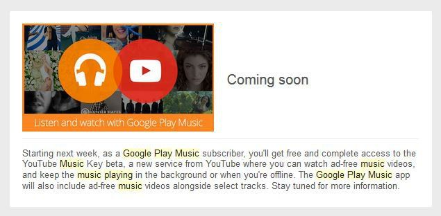 Utilizadores com subscrição no Google Play Music recebem acesso ao Youtube Music Key