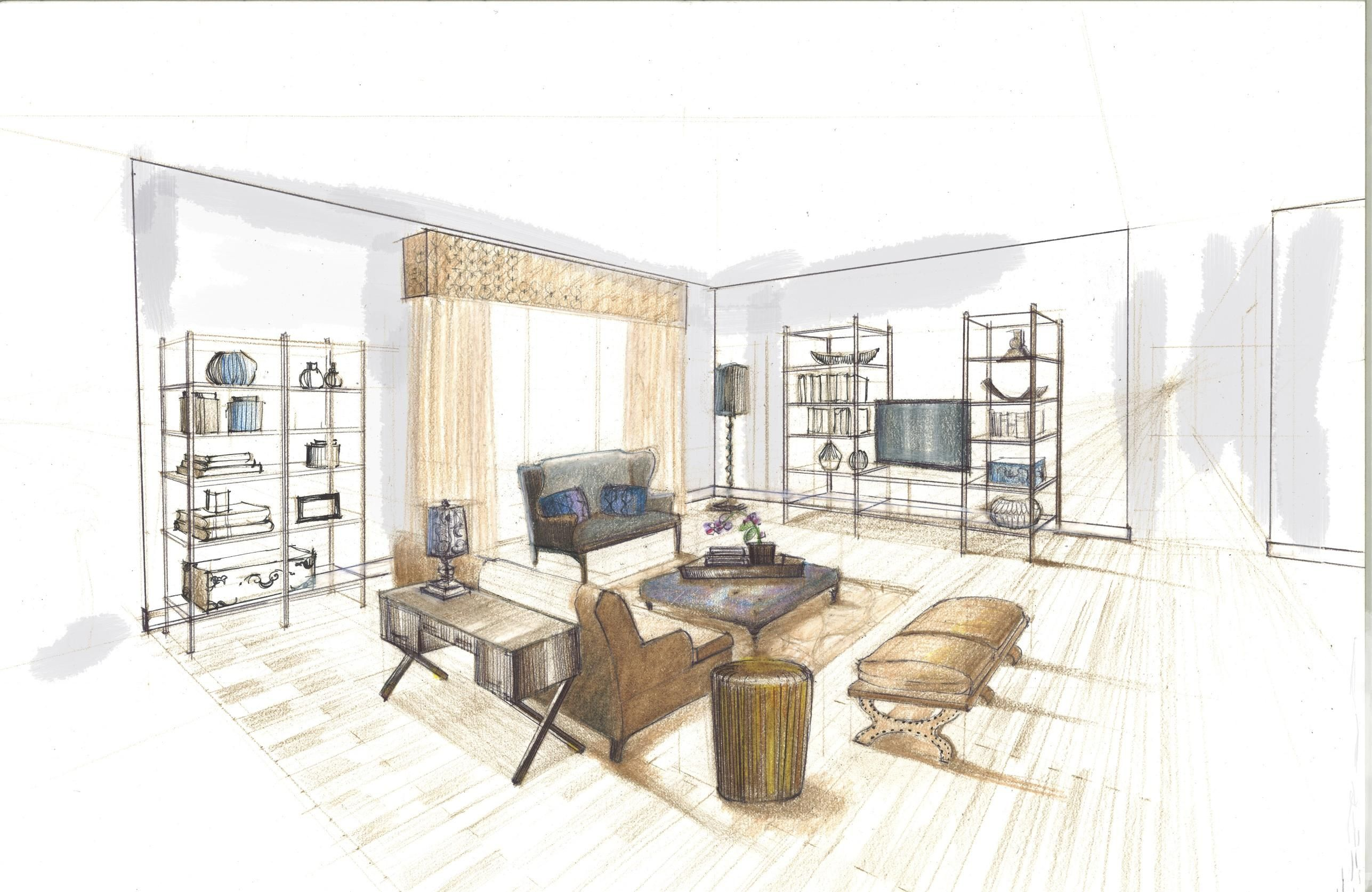 Interior design hand renderings google search sketches for Drawing room interior design photos