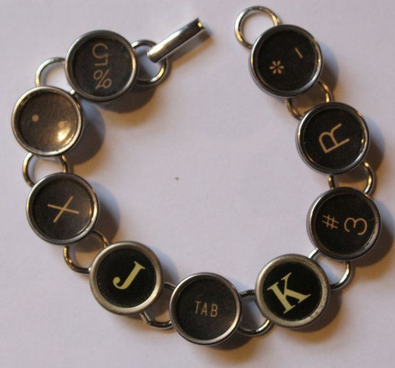 Anybody have an old typewriter? Vintage Typewriter Key Bracelet No. 11 Free gift bag by Cufflinked, $24.99