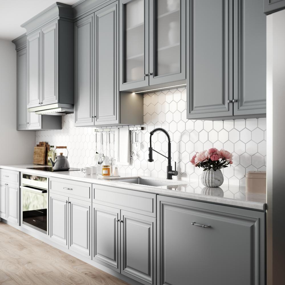 Kraus Standart Pro 32in 16 Gauge Undermount Single Bowl Stainless Steel Kitchen Sink Khu100 32 The Home Depot Kitchen Interior Grey Kitchen Cabinets New Kitchen Cabinets