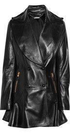 Alexander McQueen leather coat, six grand.