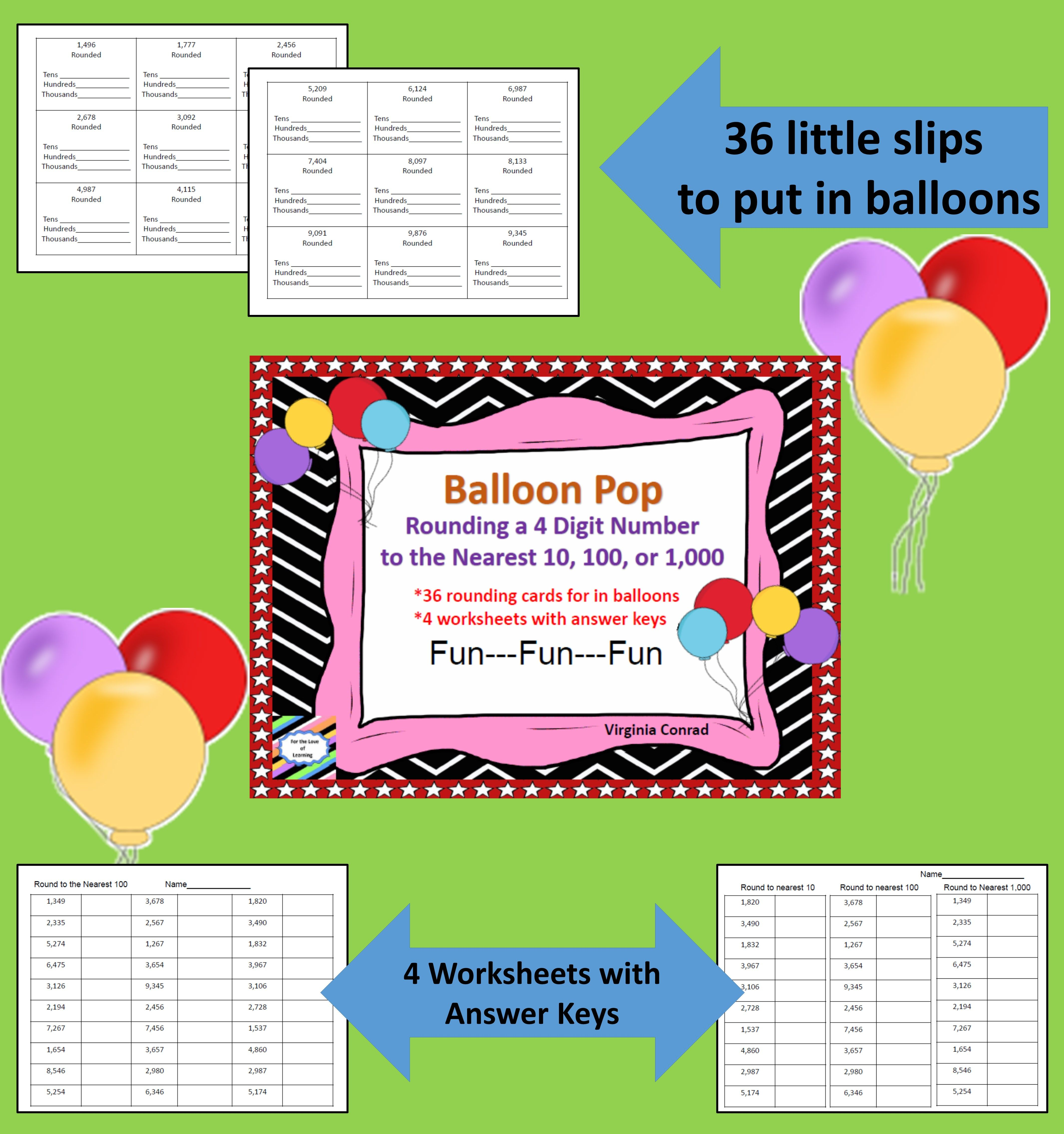 Rounding 4 Digit Numbers Balloon Pop With Images
