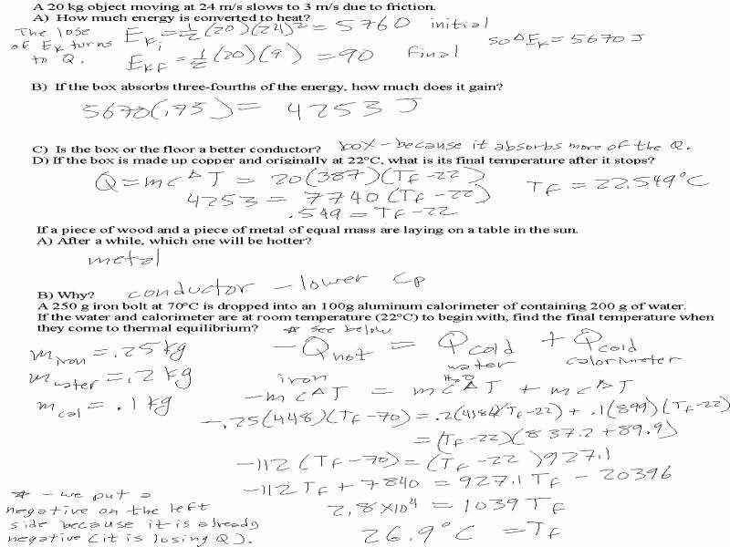 Calorimetry Worksheet Answer Key Awesome Calorimetry ...