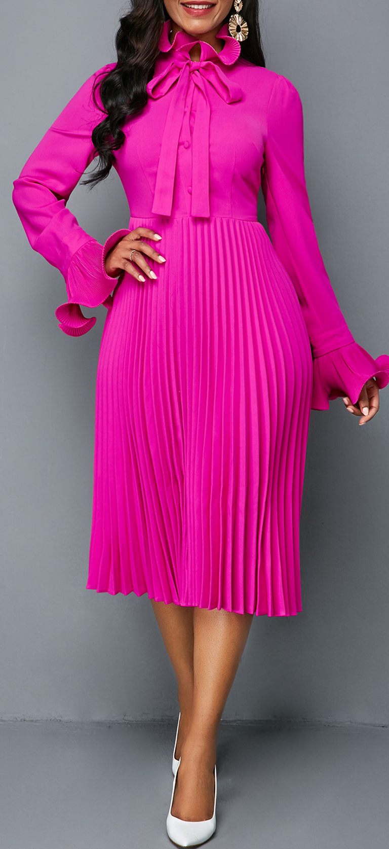 f86fe1c9e928 Tie Neck Rose Red Long Sleeve Pleated Dress Winter Dress Outfits