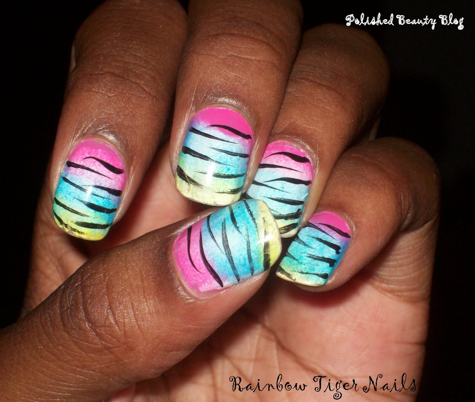 Nail Art Zebra Stripes: Rainbow Tiger Striped Nails! (With Images)