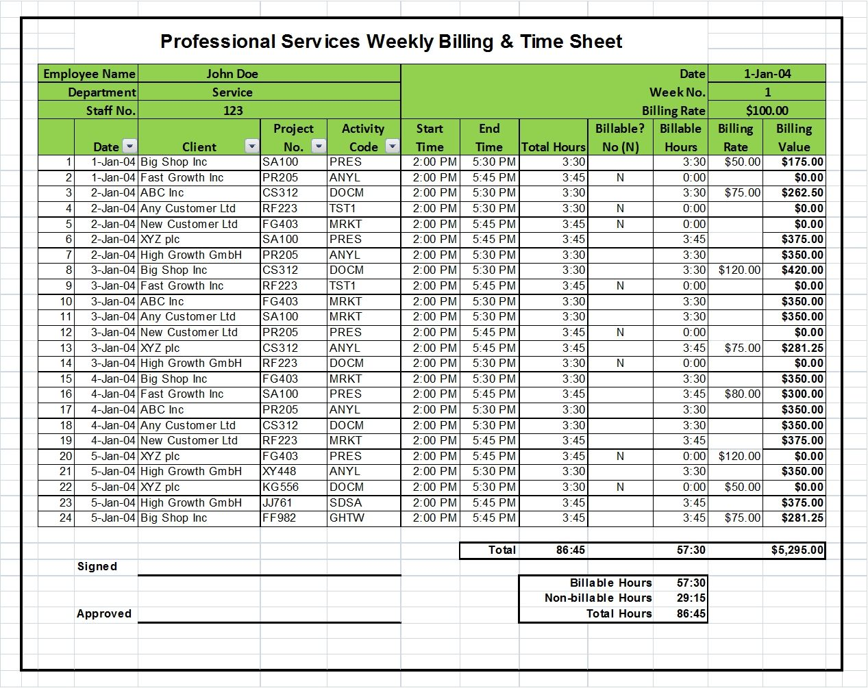 Excel Billing Timesheet Templates For Professional Services Projects  Billing Spreadsheet Template