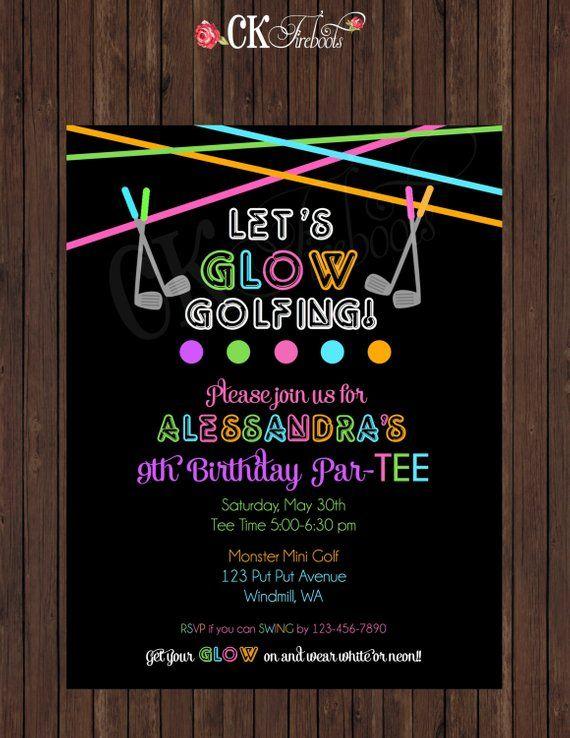 Glow In The Dark Neon Miniature Golf Birthday Invite Girl Or Boy