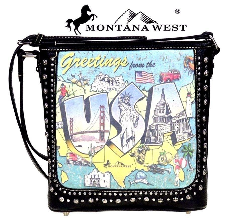 Montana West~USA Postcard Graphic Print Crossbody~Antique Silver Studs~Purse~BLK #MontanaWest #ShoulderCrossBodyBag