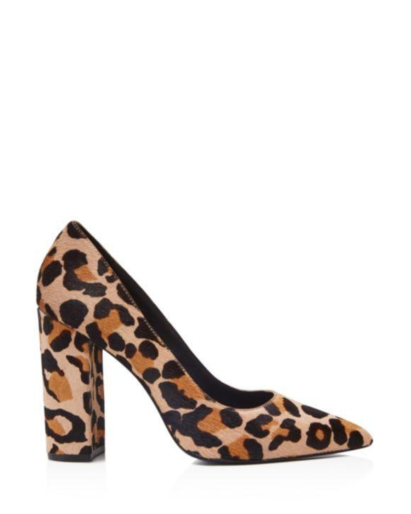 bdf6484be065 Pour La Victoire Celina Leopard Print Calf Hair Block Heel Pumps ...