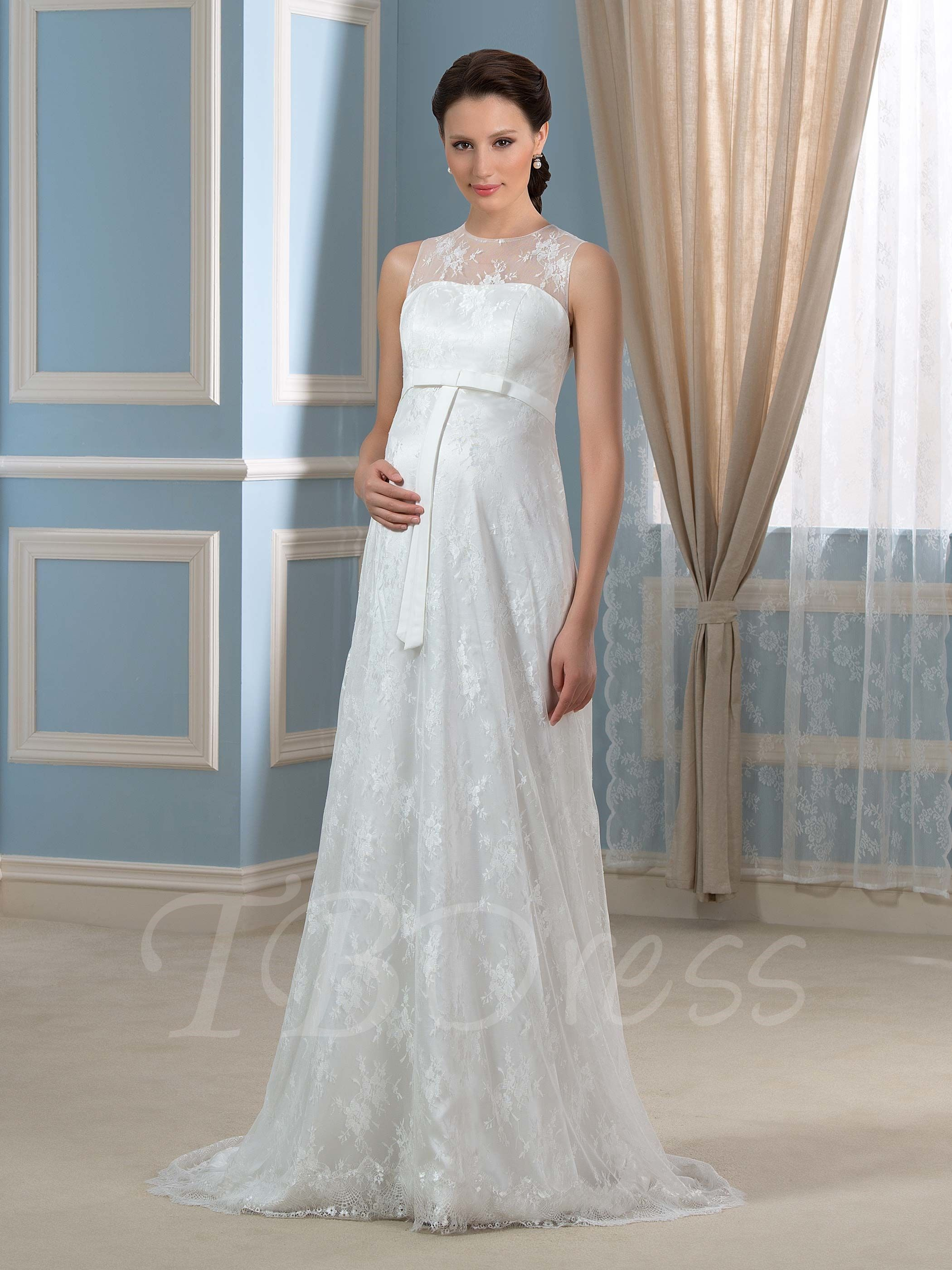 63a9ffcce51 Casual Strapless Chiffon Maternity Wedding Dress