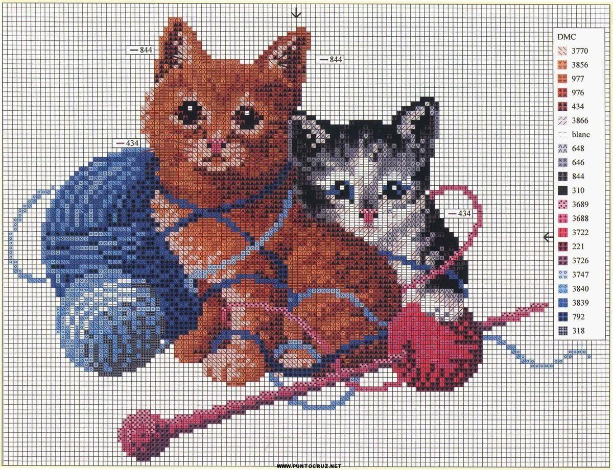 Gatos  Punto de cruz  Coleccin de patrones punto de cruz gratis