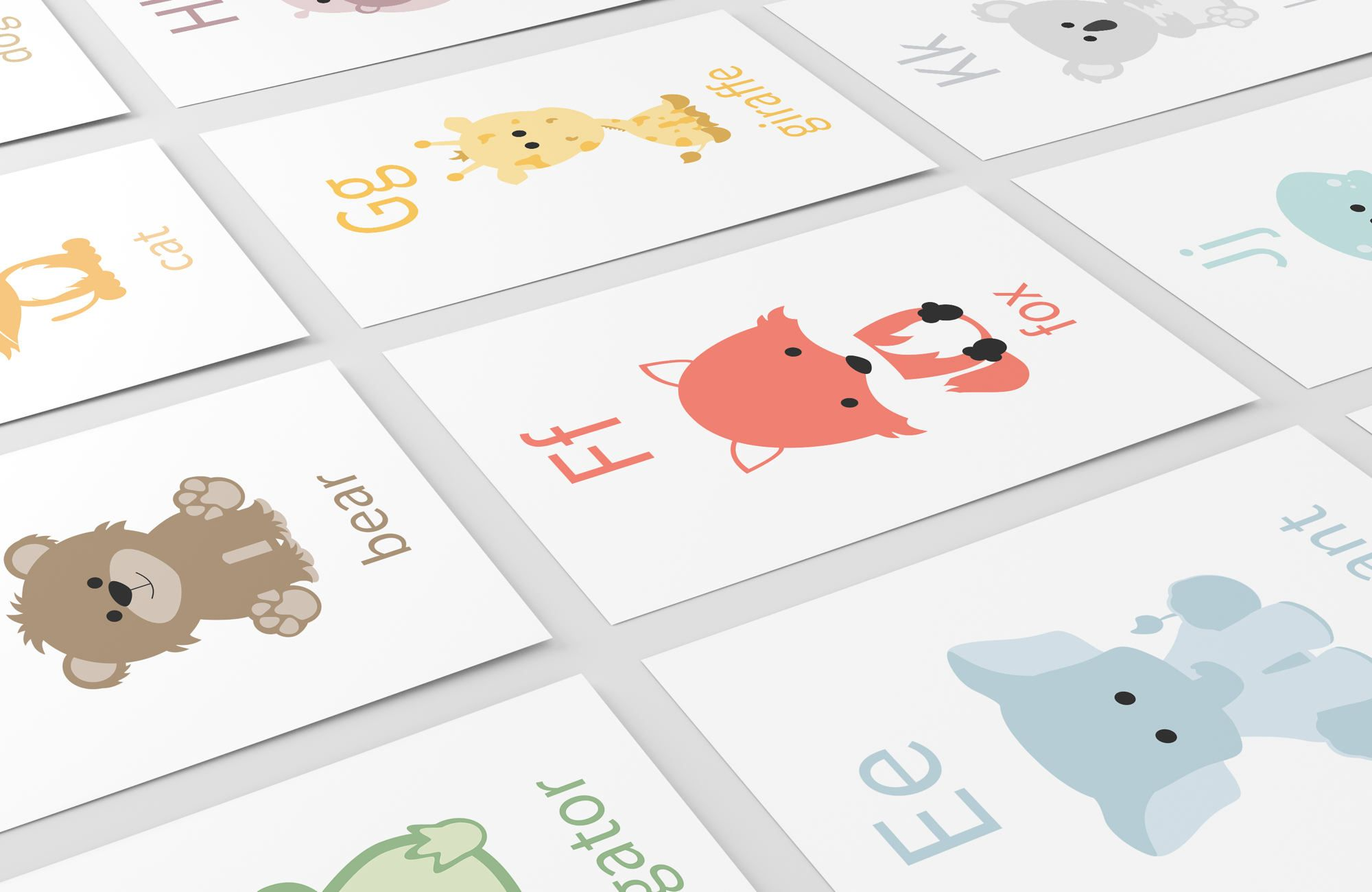 Alphabet flashcards alphabet animals letter flashcards