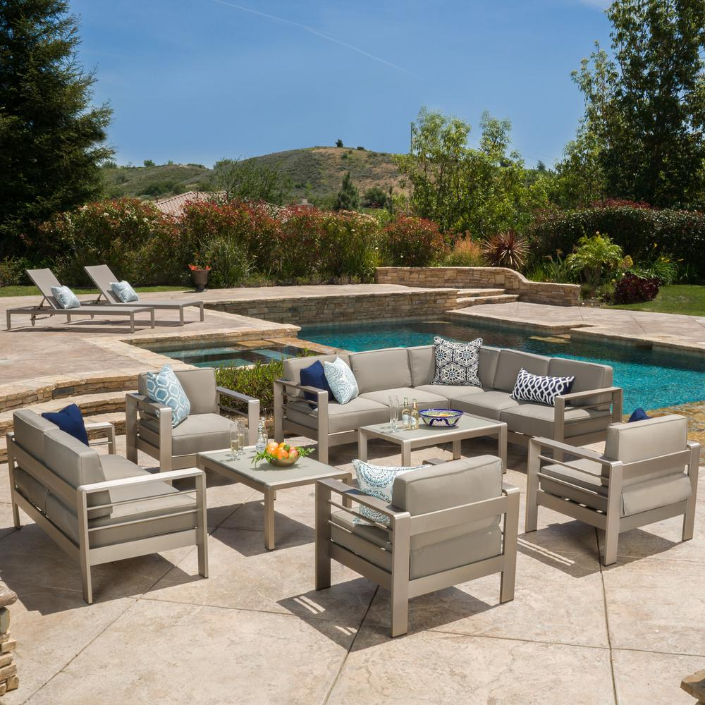Noble House Cape Coral Khaki 10 Piece Aluminum Outdoor Sectional Set With Khaki Cushions 9890 Outdoor Outdoor Seating Sofa Set