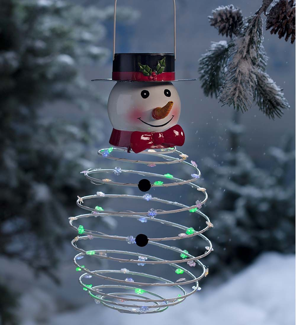 Solar-Powered Lighted Snowman Hanging Decoration