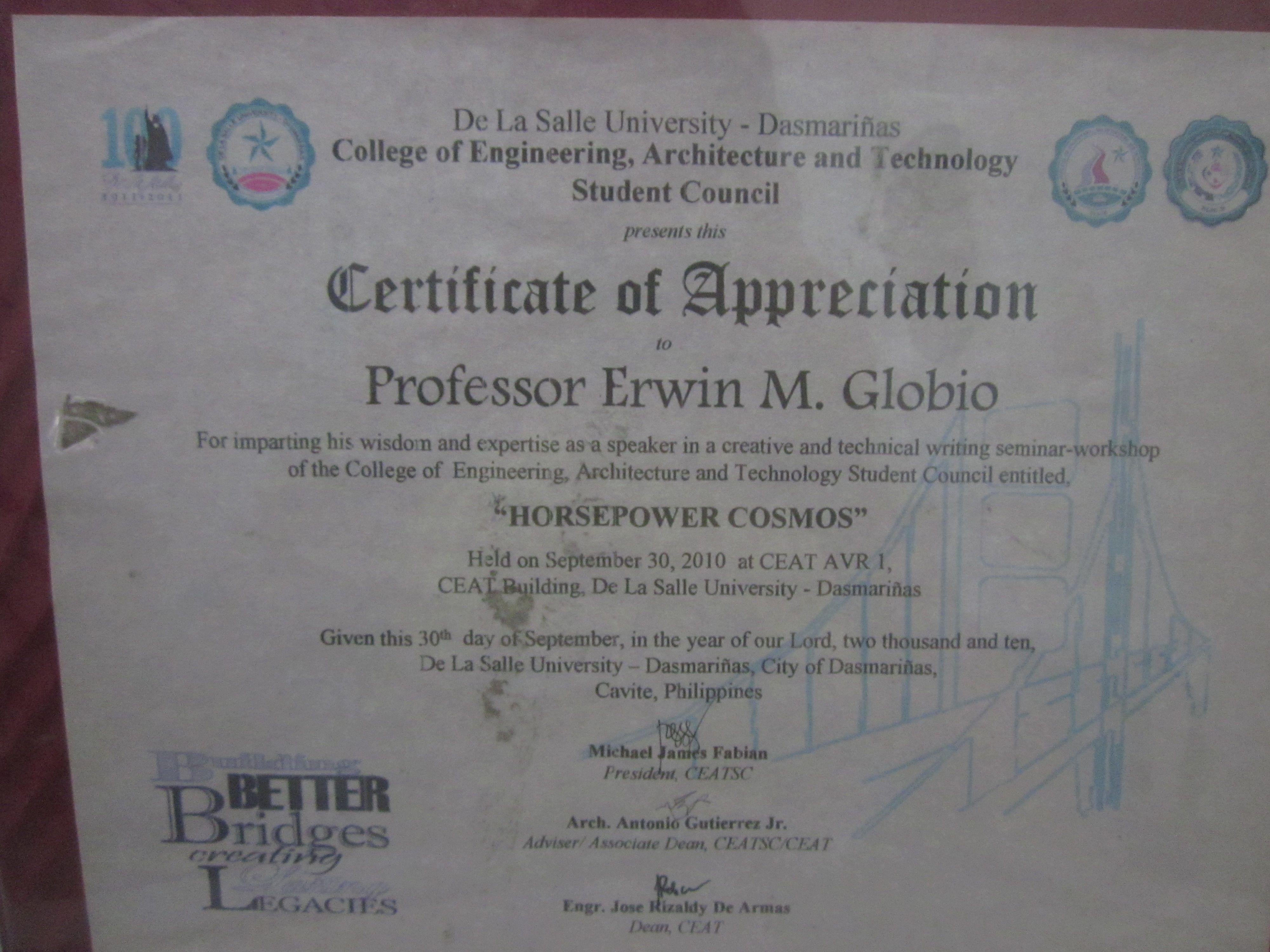 Prof erwin globios certificate of appreciation resource erwin globios certificate of appreciation resource speakers certificate pinterest certificate yelopaper Gallery