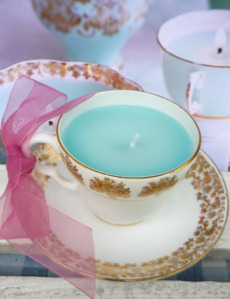 Vintage China Tea Cup With Candle Shabby Chic Wedding Gift Birthday