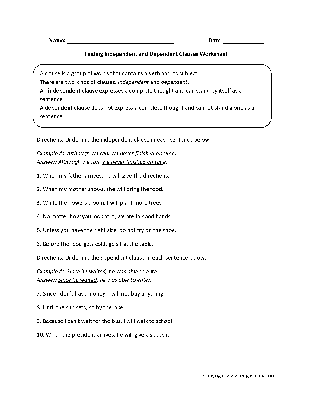 Finding Independent And Dependent Clauses Worksheet Education