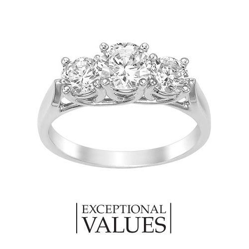 Fred Meyer Jewelers 1 12 ct tw Diamond Three Stone Anniversary