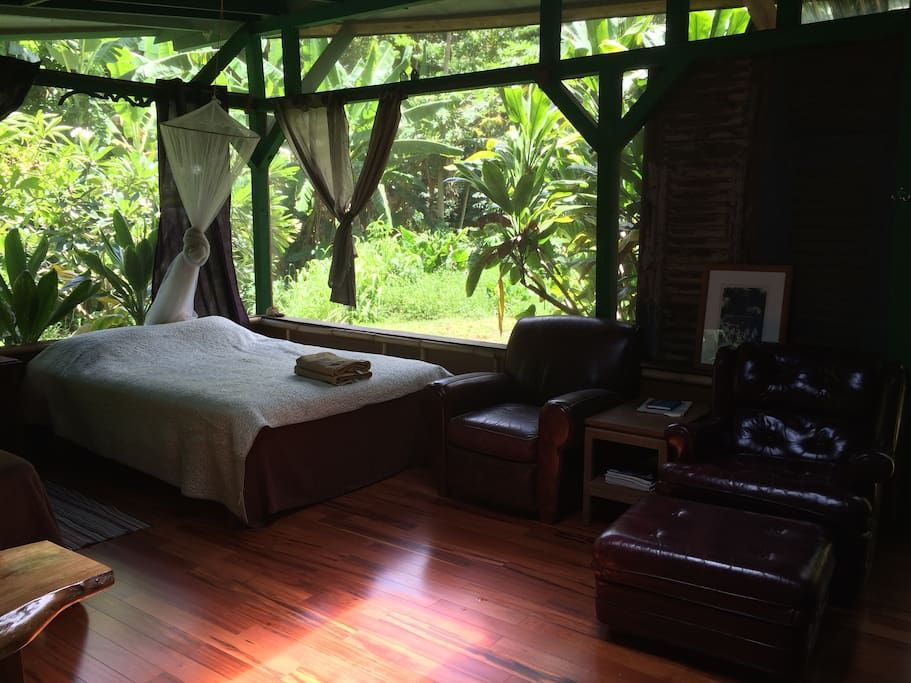 House in Kilauea, United States. Note: Stated rates INCLUDE Hawaii's 14% transient and GET tax  The Garden House is a natural Kauai experience with screened large windows to the garden and stream area below.   Bamboo floors and trim with old recycled teak accent this space.  Ther... - Get $25 credit with Airbnb if you sign up with this link http://www.airbnb.com/c/groberts22