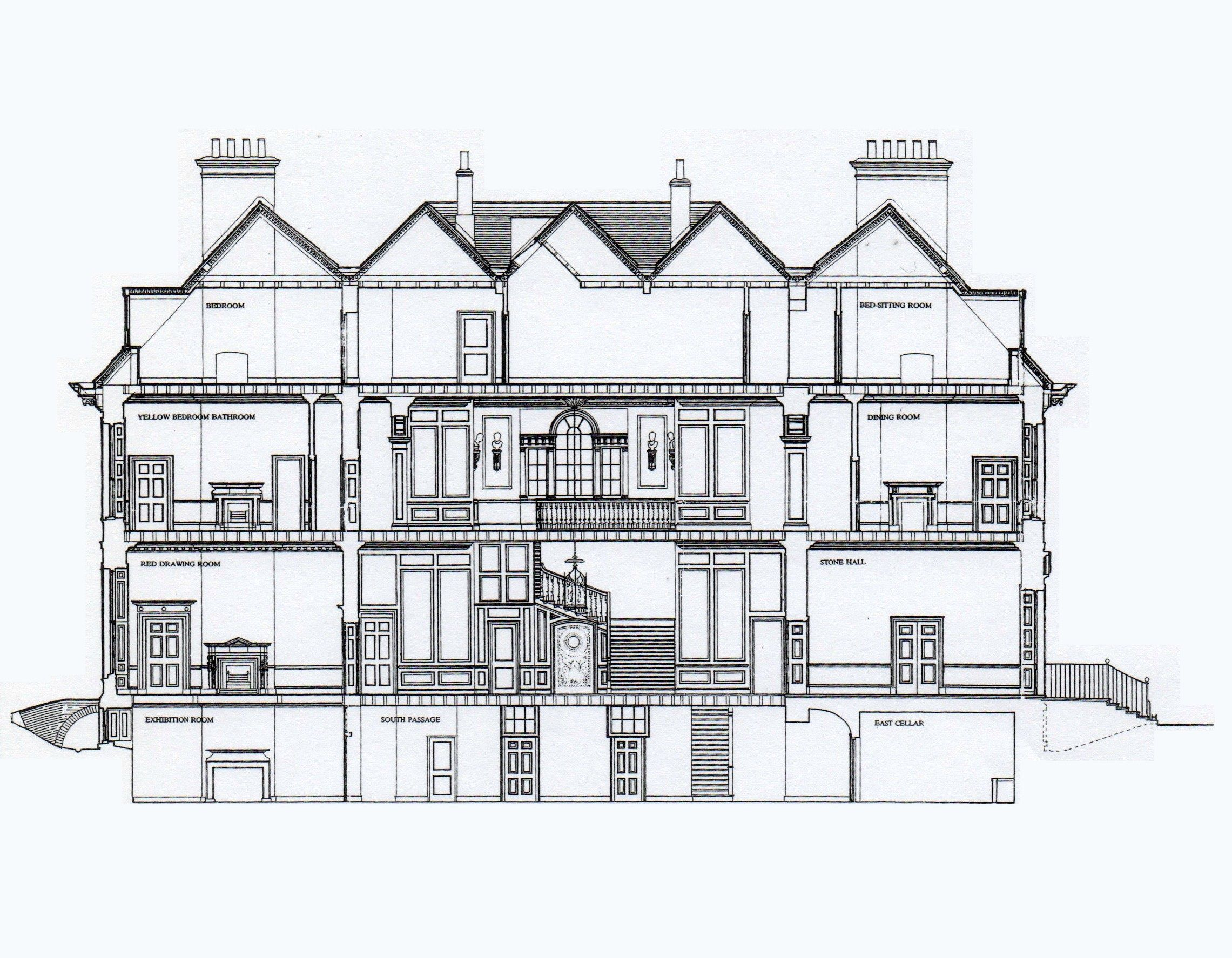uppark west sussex england cross section architectural plans