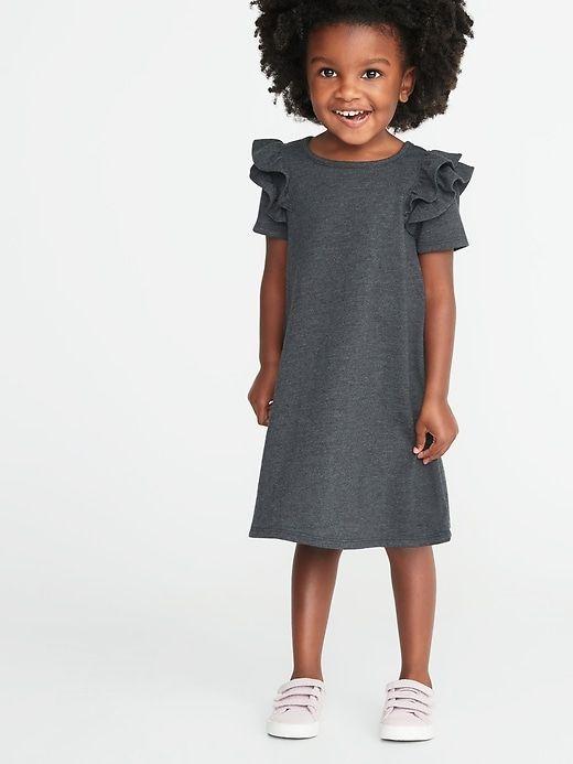 9884d6531 Old Navy Toddler Girls' Ruffled-Shoulder A-Line Tee Dress Charcoal Heather  Regular Size