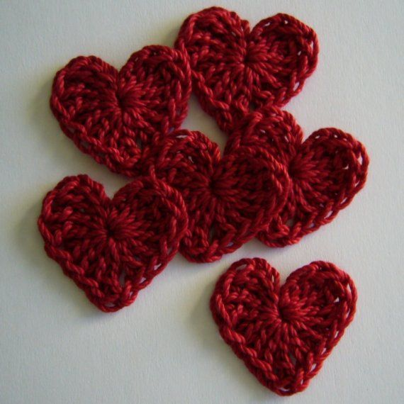 Red Crocheted Hearts - Cotton Hearts - Crocheted Heart Appliques ...